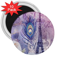 Peacock Feather White Rose Paris Eiffel Tower 3  Button Magnet (10 Pack) by chicelegantboutique
