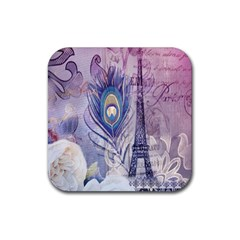 Peacock Feather White Rose Paris Eiffel Tower Drink Coaster (square)