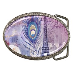 Peacock Feather White Rose Paris Eiffel Tower Belt Buckle (oval) by chicelegantboutique