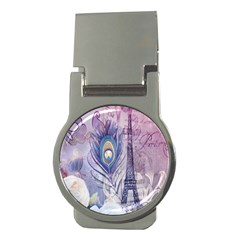 Peacock Feather White Rose Paris Eiffel Tower Money Clip (round) by chicelegantboutique