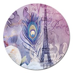 Peacock Feather White Rose Paris Eiffel Tower Magnet 5  (round) by chicelegantboutique