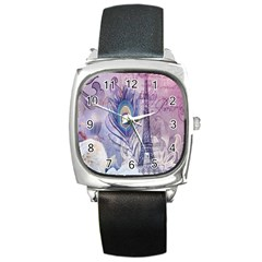 Peacock Feather White Rose Paris Eiffel Tower Square Leather Watch by chicelegantboutique