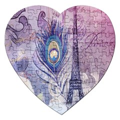 Peacock Feather White Rose Paris Eiffel Tower Jigsaw Puzzle (heart) by chicelegantboutique