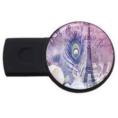 Peacock Feather White Rose Paris Eiffel Tower 4gb Usb Flash Drive (round) by chicelegantboutique