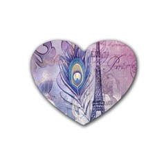 Peacock Feather White Rose Paris Eiffel Tower Drink Coasters (heart) by chicelegantboutique