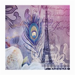 Peacock Feather White Rose Paris Eiffel Tower Glasses Cloth (medium, Two Sided) by chicelegantboutique