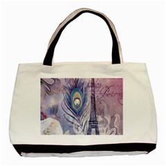 Peacock Feather White Rose Paris Eiffel Tower Twin Sided Black Tote Bag by chicelegantboutique