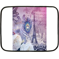 Peacock Feather White Rose Paris Eiffel Tower Mini Fleece Blanket (two Sided) by chicelegantboutique