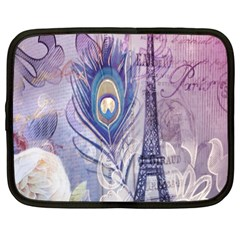 Peacock Feather White Rose Paris Eiffel Tower Netbook Case (xl) by chicelegantboutique