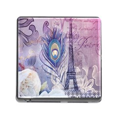 Peacock Feather White Rose Paris Eiffel Tower Memory Card Reader With Storage (square) by chicelegantboutique