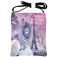 Peacock Feather White Rose Paris Eiffel Tower Shoulder Sling Bag by chicelegantboutique