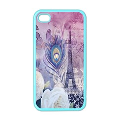 Peacock Feather White Rose Paris Eiffel Tower Apple Iphone 4 Case (color) by chicelegantboutique