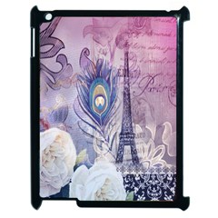 Peacock Feather White Rose Paris Eiffel Tower Apple Ipad 2 Case (black) by chicelegantboutique