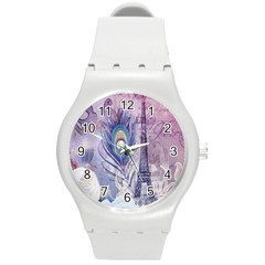 Peacock Feather White Rose Paris Eiffel Tower Plastic Sport Watch (medium) by chicelegantboutique