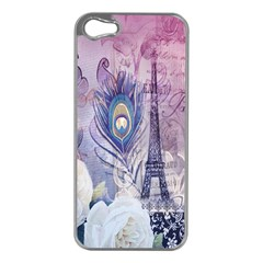 Peacock Feather White Rose Paris Eiffel Tower Apple Iphone 5 Case (silver) by chicelegantboutique