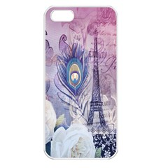 Peacock Feather White Rose Paris Eiffel Tower Apple Iphone 5 Seamless Case (white) by chicelegantboutique