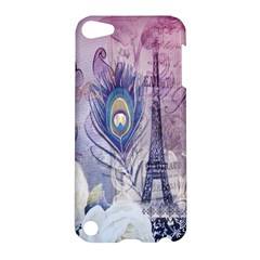 Peacock Feather White Rose Paris Eiffel Tower Apple Ipod Touch 5 Hardshell Case by chicelegantboutique