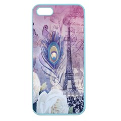 Peacock Feather White Rose Paris Eiffel Tower Apple Seamless Iphone 5 Case (color) by chicelegantboutique