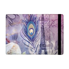 Peacock Feather White Rose Paris Eiffel Tower Apple Ipad Mini Flip Case by chicelegantboutique