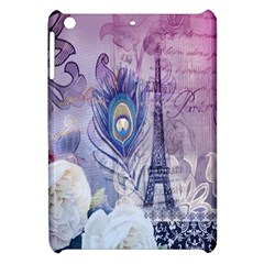 Peacock Feather White Rose Paris Eiffel Tower Apple Ipad Mini Hardshell Case by chicelegantboutique