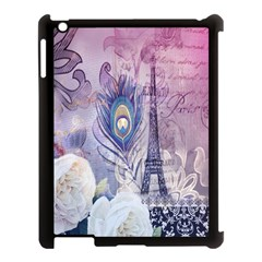 Peacock Feather White Rose Paris Eiffel Tower Apple Ipad 3/4 Case (black) by chicelegantboutique