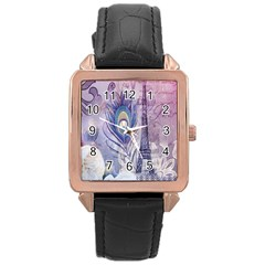 Peacock Feather White Rose Paris Eiffel Tower Rose Gold Leather Watch