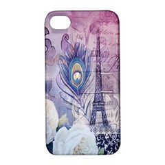 Peacock Feather White Rose Paris Eiffel Tower Apple Iphone 4/4s Hardshell Case With Stand by chicelegantboutique