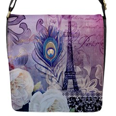 Peacock Feather White Rose Paris Eiffel Tower Flap Closure Messenger Bag (small)