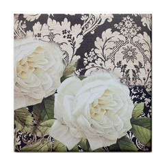Elegant White Rose Vintage Damask Ceramic Tile by chicelegantboutique