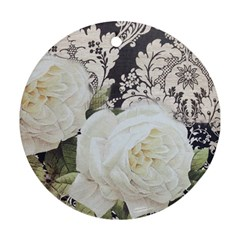 Elegant White Rose Vintage Damask Round Ornament by chicelegantboutique