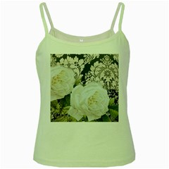 Elegant White Rose Vintage Damask Green Spaghetti Tank by chicelegantboutique