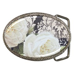 Elegant White Rose Vintage Damask Belt Buckle (oval) by chicelegantboutique