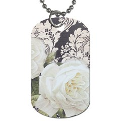 Elegant White Rose Vintage Damask Dog Tag (one Sided) by chicelegantboutique