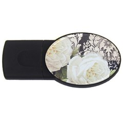 Elegant White Rose Vintage Damask 2gb Usb Flash Drive (oval) by chicelegantboutique