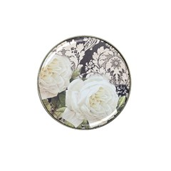 Elegant White Rose Vintage Damask Golf Ball Marker (for Hat Clip) by chicelegantboutique
