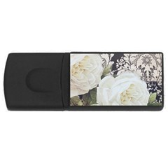 Elegant White Rose Vintage Damask 4gb Usb Flash Drive (rectangle) by chicelegantboutique