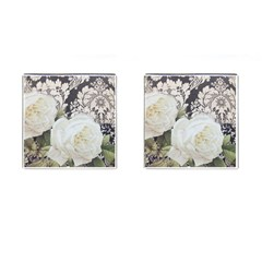 Elegant White Rose Vintage Damask Cufflinks (square) by chicelegantboutique