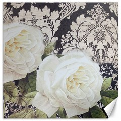 Elegant White Rose Vintage Damask Canvas 12  X 12  (unframed) by chicelegantboutique