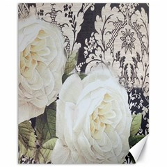 Elegant White Rose Vintage Damask Canvas 11  X 14  (unframed) by chicelegantboutique