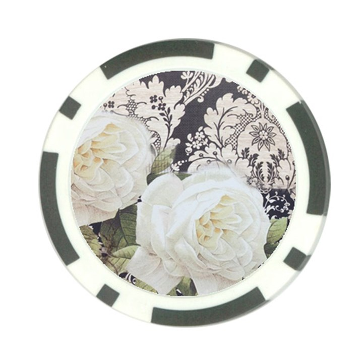 Elegant White Rose Vintage Damask Poker Chip