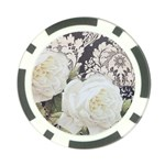 Elegant White Rose Vintage Damask Poker Chip Back