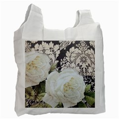 Elegant White Rose Vintage Damask Recycle Bag (two Sides) by chicelegantboutique