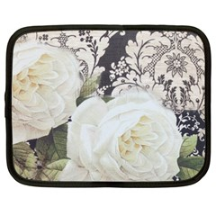 Elegant White Rose Vintage Damask Netbook Case (xxl) by chicelegantboutique
