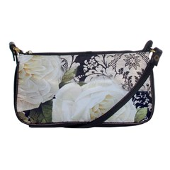 Elegant White Rose Vintage Damask Evening Bag