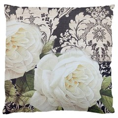 Elegant White Rose Vintage Damask Large Cushion Case (single Sided)  by chicelegantboutique