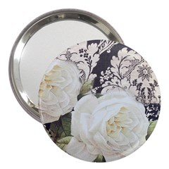 Elegant White Rose Vintage Damask 3  Handbag Mirror by chicelegantboutique