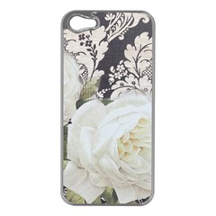 Elegant White Rose Vintage Damask Apple Iphone 5 Case (silver)