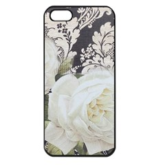 Elegant White Rose Vintage Damask Apple Iphone 5 Seamless Case (black) by chicelegantboutique