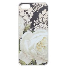 Elegant White Rose Vintage Damask Apple Iphone 5 Seamless Case (white) by chicelegantboutique