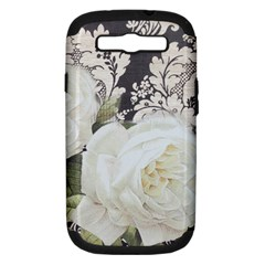 Elegant White Rose Vintage Damask Samsung Galaxy S Iii Hardshell Case (pc+silicone) by chicelegantboutique